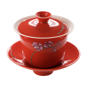 Hand Crafted Red Orchid Flower Gaiwan