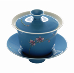 Hand Crafted Blue Orchid Flower Gaiwan