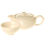 Oval Bone White Tea Set <br> 1 pot 4 cups