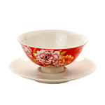 Red Dahlia Teacup Set